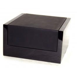 Coffret à cirage en bois laqué vernis et cuir noir Renoir FAMACO
